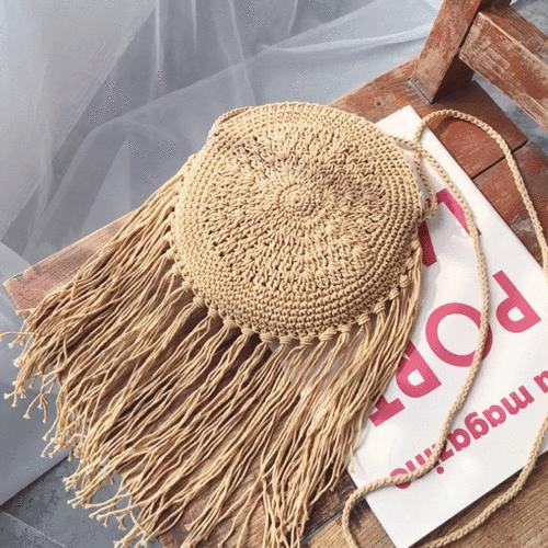 ღ☭Women Straw Bag Summer Beach Rattan Shoulder Bags Wicker Weave Handbag
