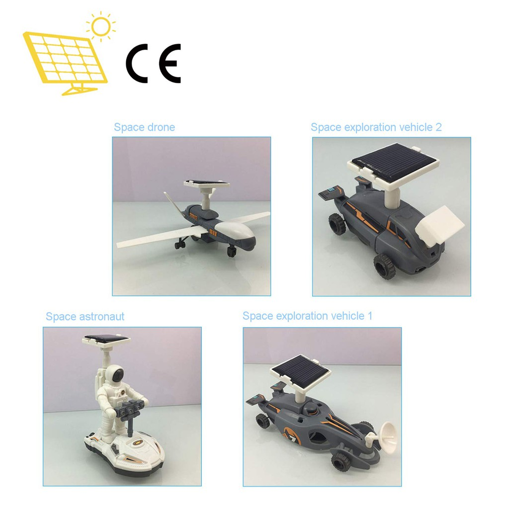 EDUCATIONAL DIY 4 IN 1 SOLAR POWER SPACE EXPLORATION FLEET TOY KIT SCIENCE SCHOOL PROJECT FOR KIDS LEARNING PURPOSE