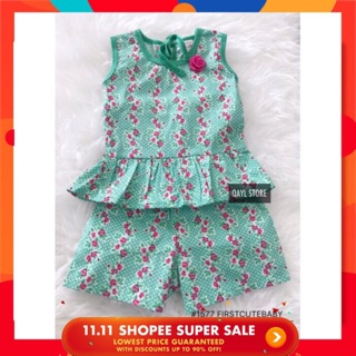 591fc9a52 2pcs Mint Flower Pink Baby Kids Girl Top + Pant 9M-3Y | Shopee Malaysia