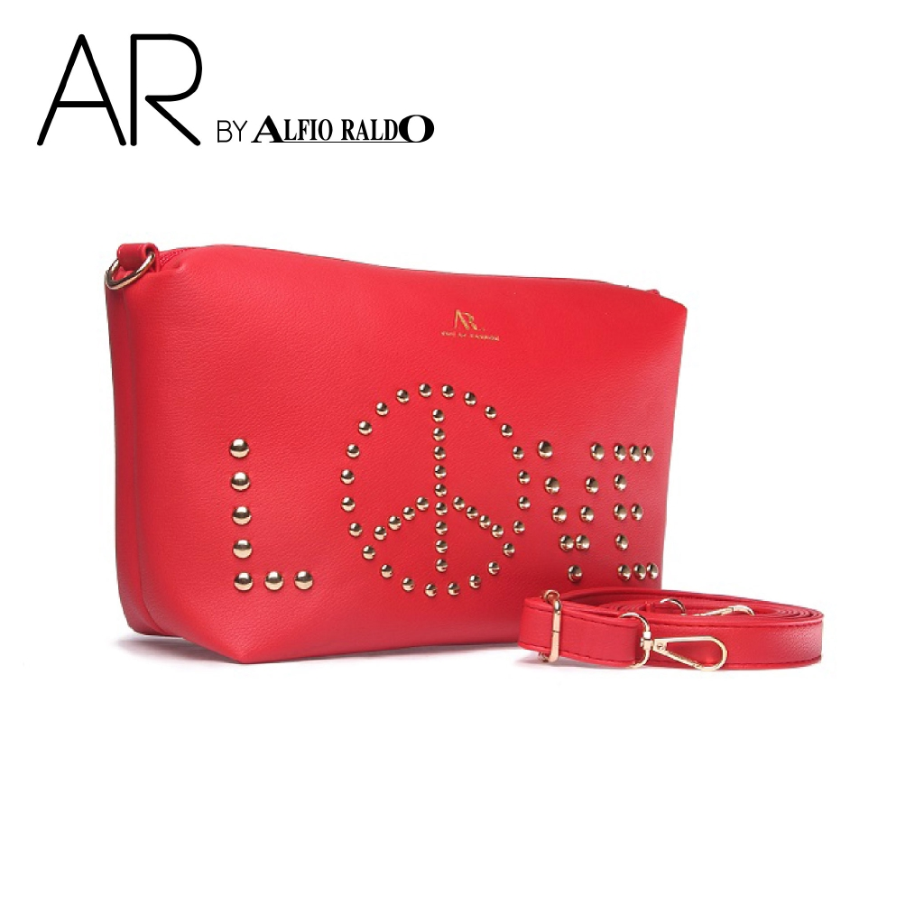 [SHOPEE EXCLUSIVE] AR by Alfio Raldo Fashion Elegant Black Alphabet Sling Bag with with Bead