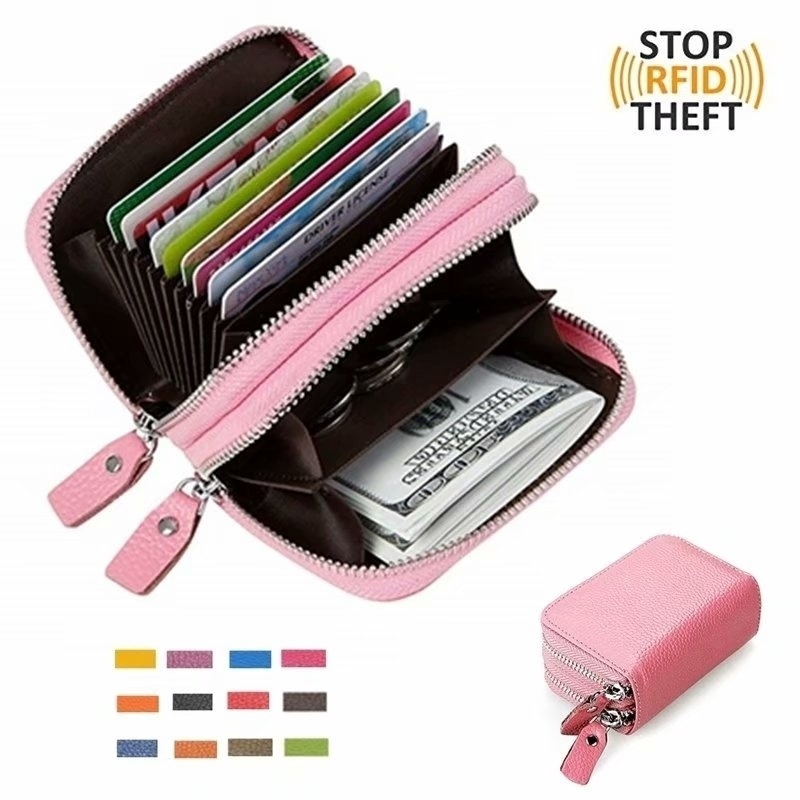 8ee26727cf2a Women's Leather RFID Secure Spacious Cute Zipper Card Wallet Small Purse