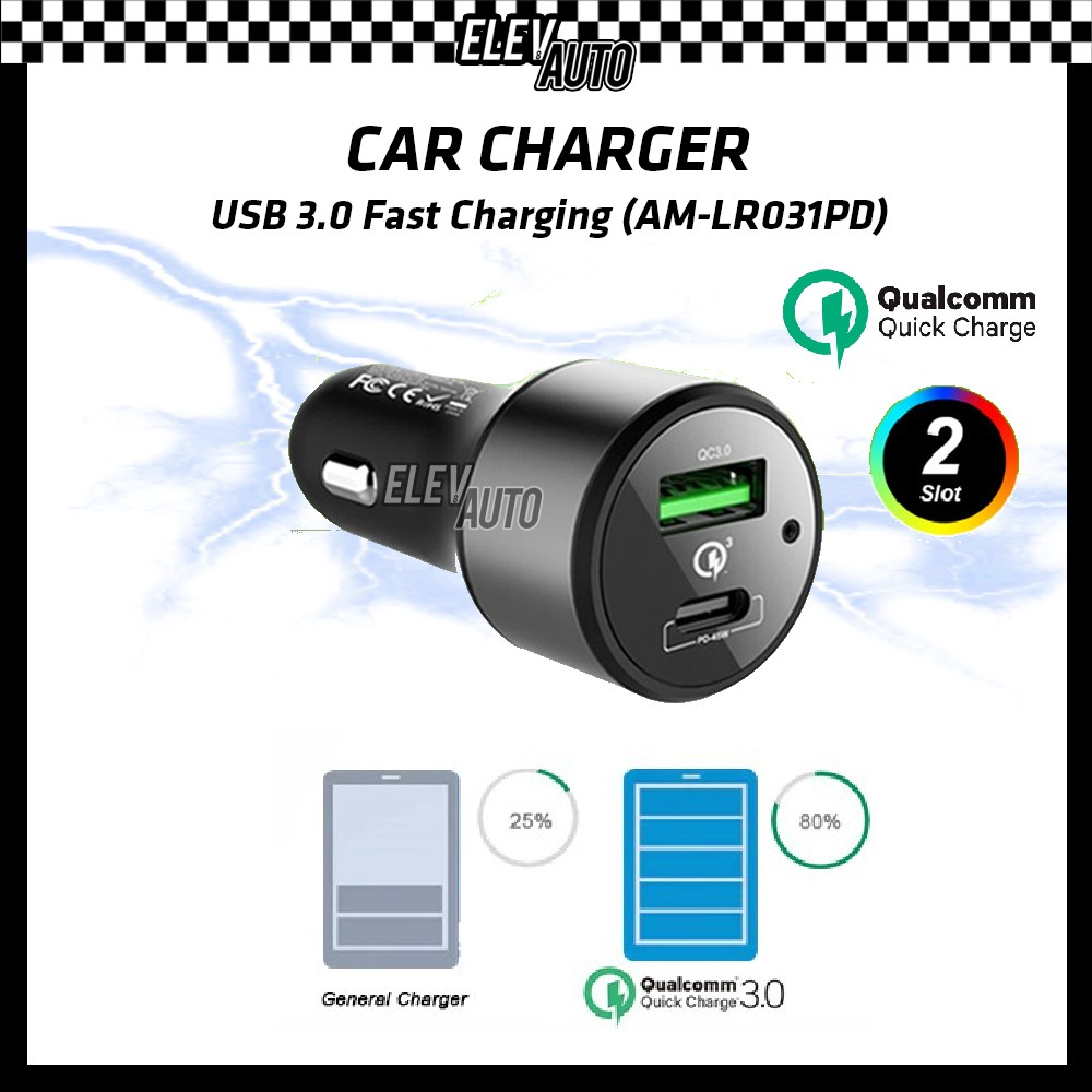 Car Charger Quick Charge Fast Charging 3.0 USB (AM-LR031PD)