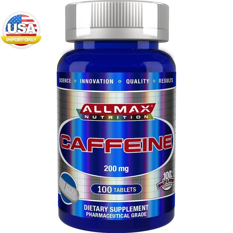 พร้อมส่ง_ALLMAX Nutrition, 100% Pure Caffeine + Easy-To-Cut in Half Pill, 200 mg, 100 Ta