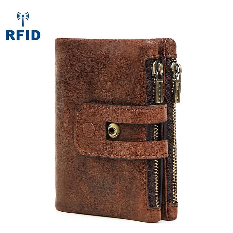 b6d49eb1cbe5 Men's wallet fashion RFID antimagnetic leather wallet double zipper  multi-card retro handbag pocket change Wallet