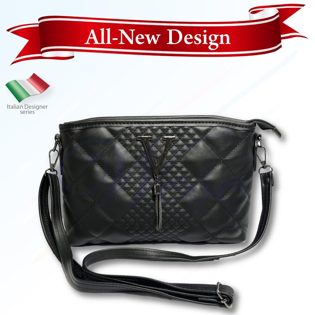 Italian Designer Luxury Leather Sling Bag / Shoulder Bag / Crossbody Bag / Saddle Bag (Black)