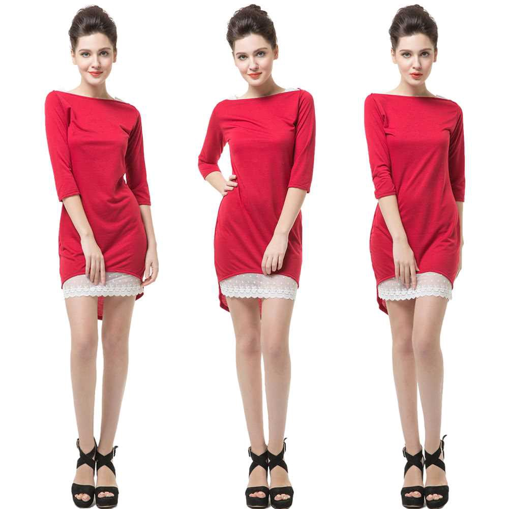 New Fashion Women Dress Slash Neck Half Sleeve Lace Decoration Irregular Hem Sexy Slim Red (Red)