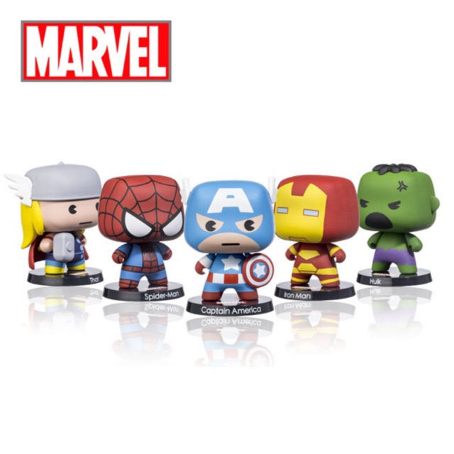Marvel Cute Cartoon The Avengers Action Figures Toy with Thor Spider  Captain America Iron Man Hulk for Decor Collection