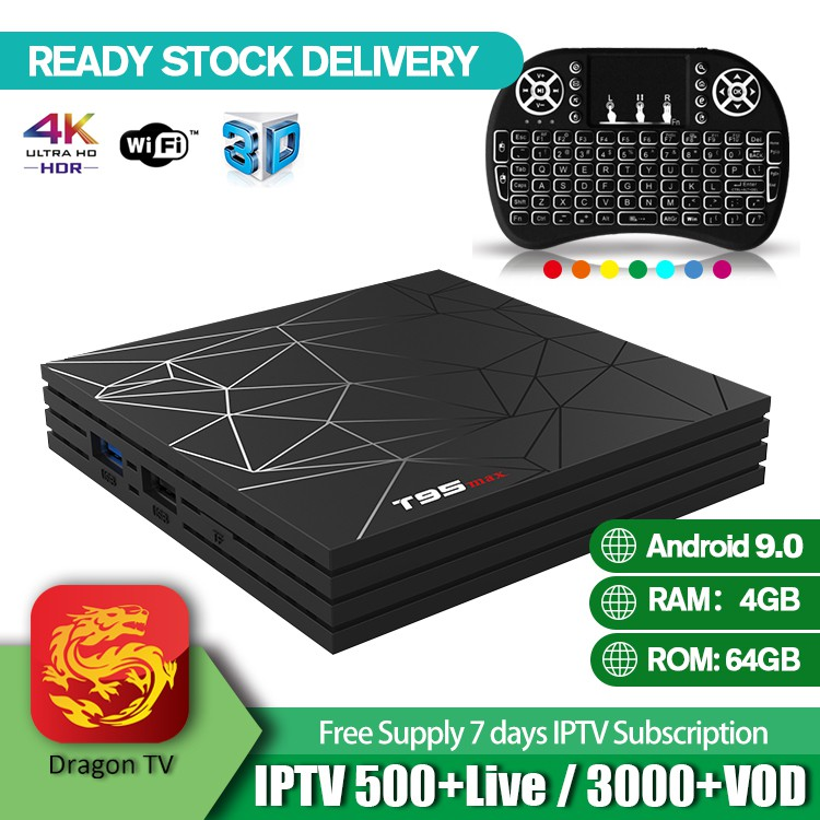 T95 Max TV Box Android 9 0 H6 4GB 64GB 2G Frequency UK Plug & Backlit  Airmouse Free IPTV Test