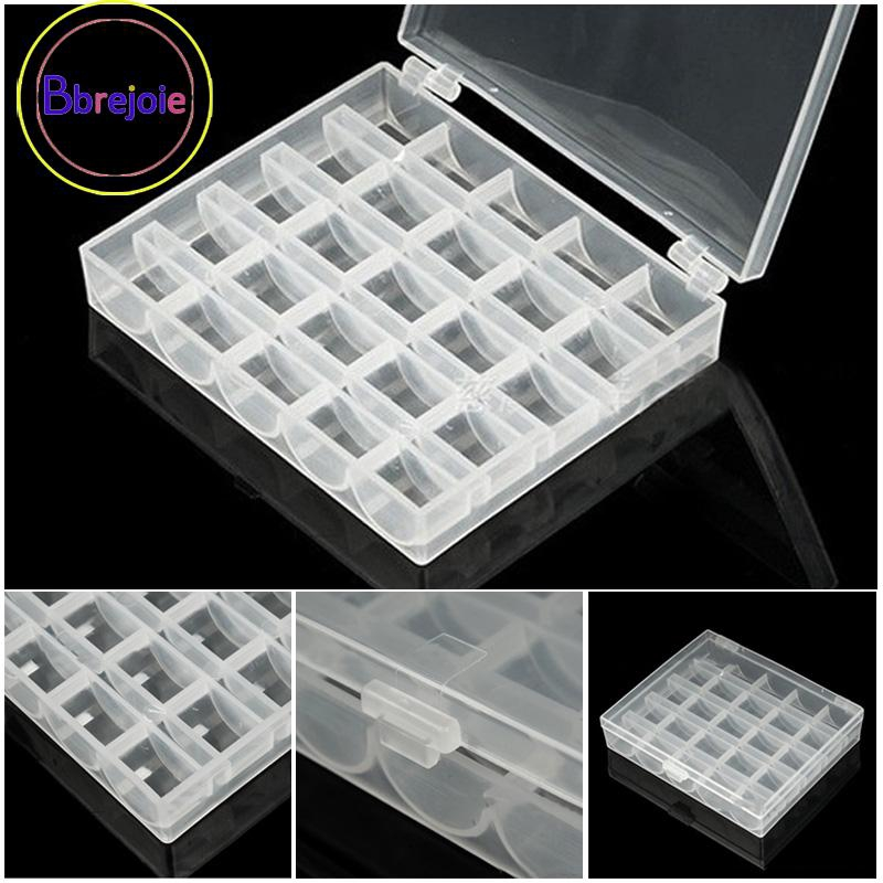 25x Spools Empty Bobbins Case Organizer Sewing Machine Bobbin Clear Box Storage
