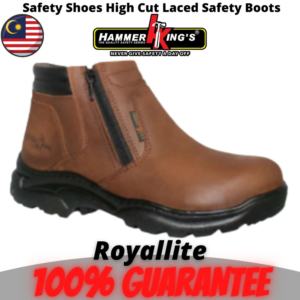 Safety Shoes Boots Steel Toe Cap Steel Mid Plate Mid Cut Dual Zipper Premium Quality Genuine Leather Hammer King (13013)