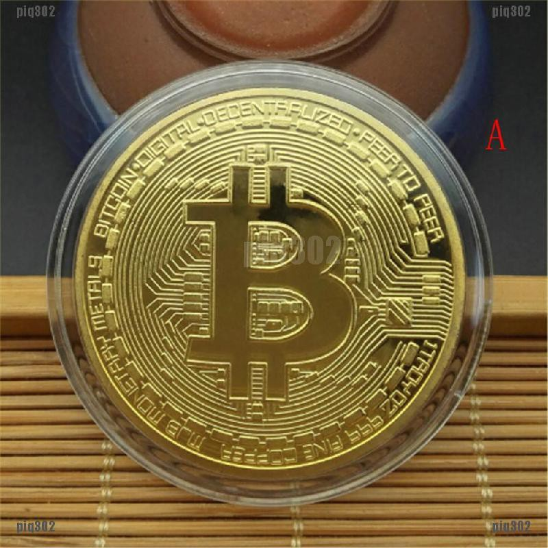 Gold Bitcoin Commemorative Round Collectors Coin Bit Coin Gold Plated Coins New