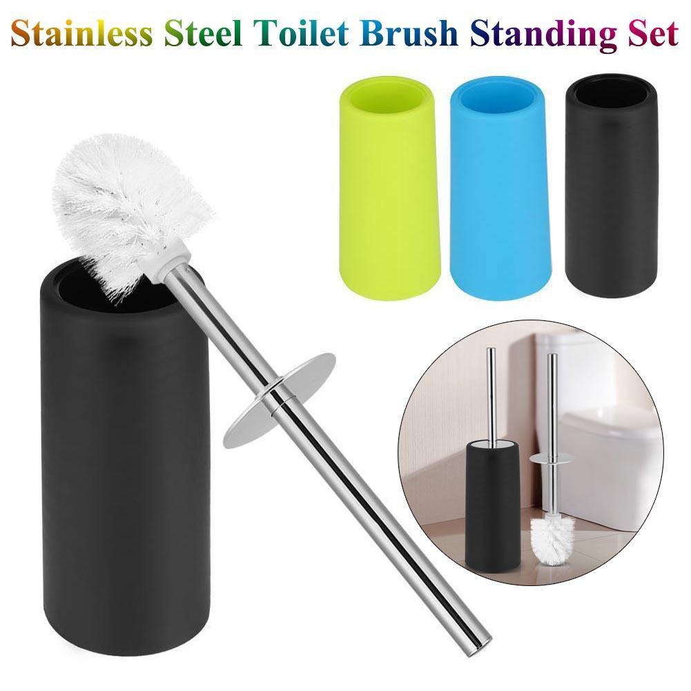 Home Stainless Steel Toilet Brush Holder Cleaning Brush Standing Bathroom Set