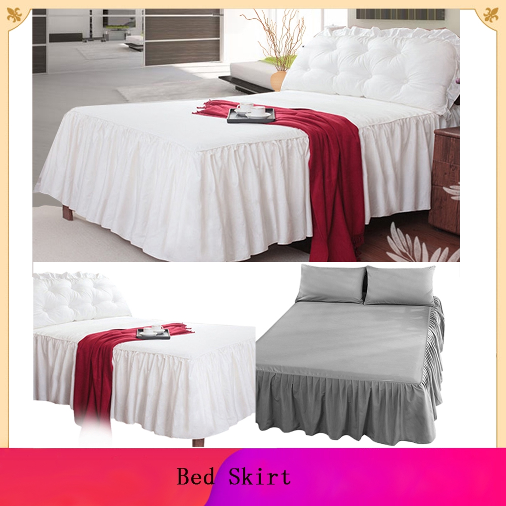 Plain Dyed Fitted Valance Sheet Poly-Cotton Bed Sheet Single Double /& King White