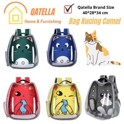 Qatella Transparent Cat Ear Astronaut Backpack Carrier /Bag Galas Kucing Pet Carrier Capsule bag kucing bag anjing