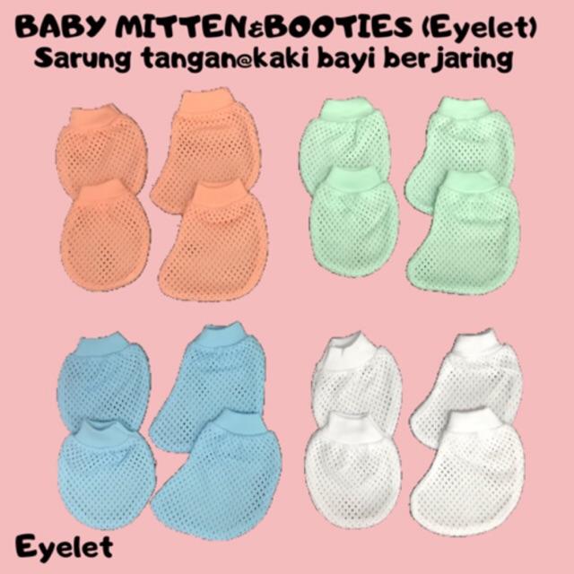 18edd630fb57c Newborn BABY MITTEN AND BOOTIES EYELET SET/SARUNG TANGAN DAN KAKI BAYI  LUBANG