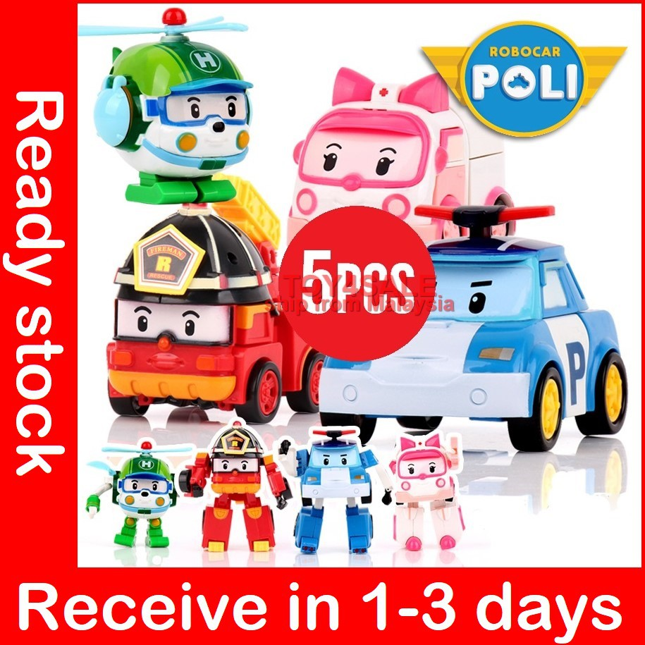12CM ROBOT POLI ROY AMBER HELLY 4 FIGURES ROBOCAR POLI MINI TRANSFORMER  4.7/""