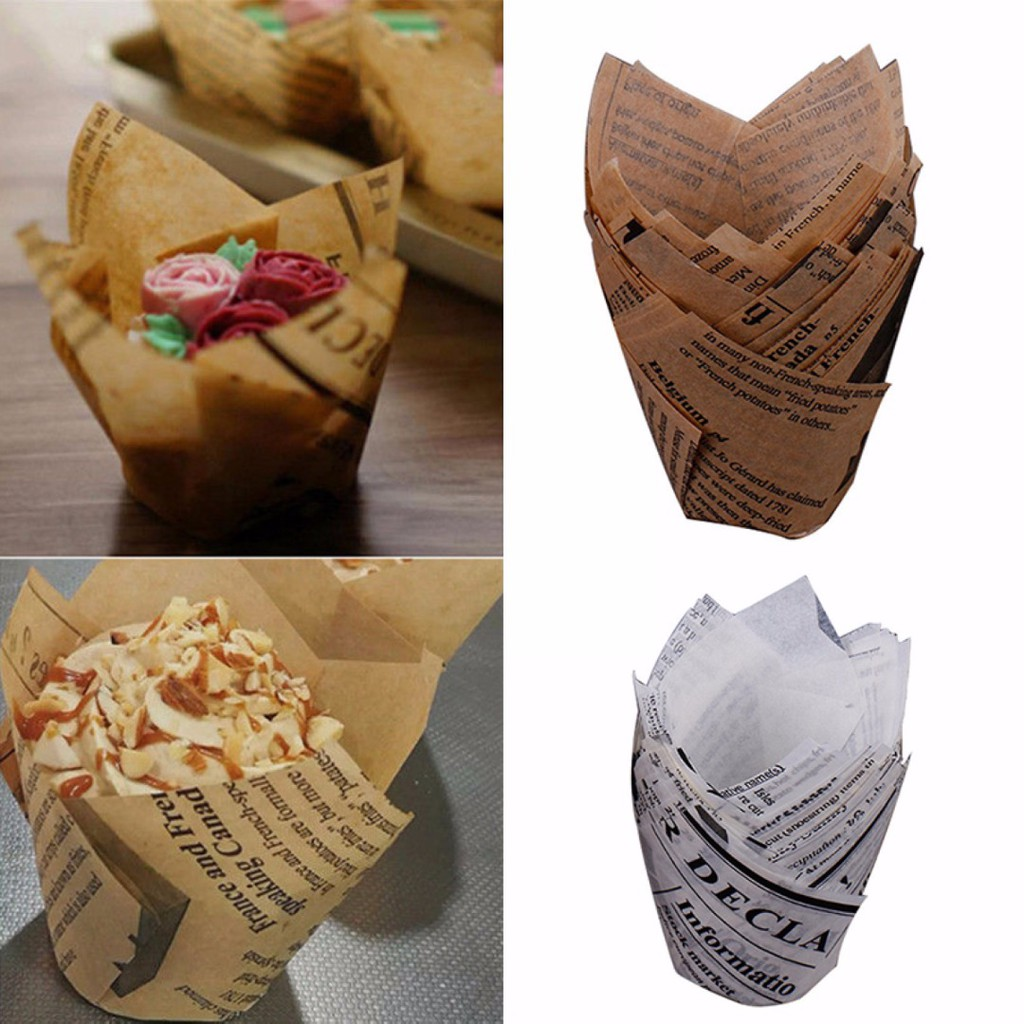 50Pcs DIY Tulips Cupcake Liners Paper Cake Baking Cup Muffin Cases Wedding Party