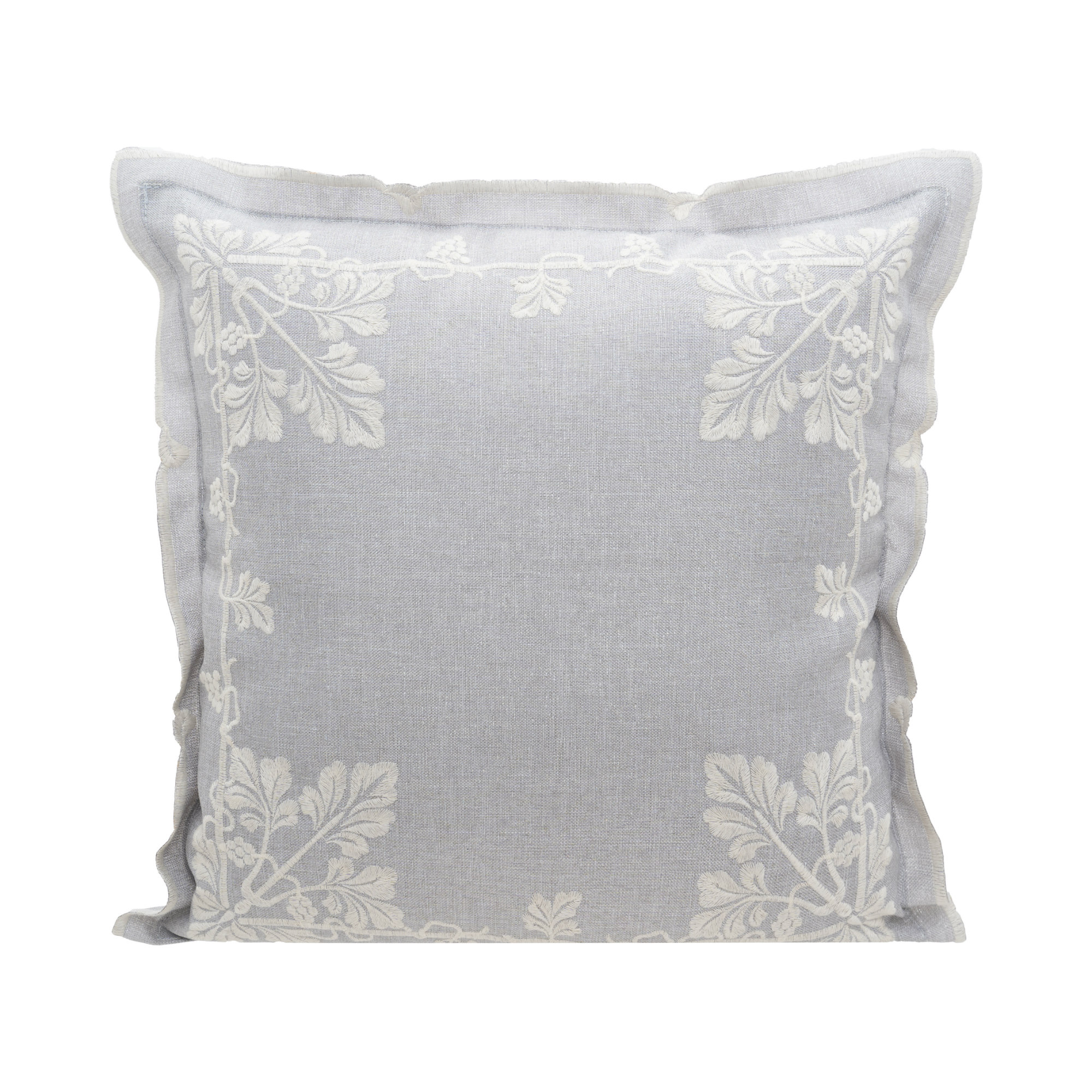 """Lace & Embroidery Vineyards Embroidery Cushion Cover/Throw Pillow Cover. Easy Care Cation Fabric. 45x45cm/18x18"""" (Grey)"""