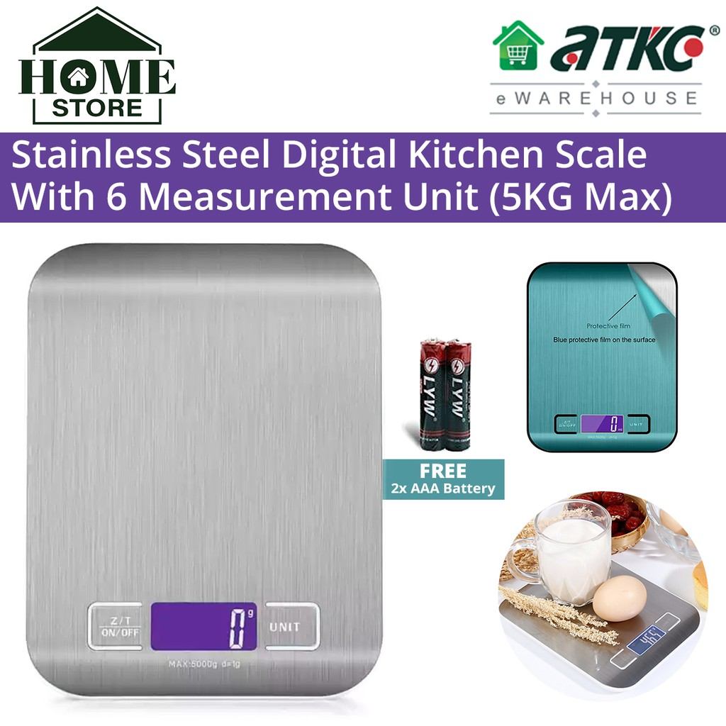 Stainless Steel Digital Kitchen Scale LCD Backlight Display with 6 Measurement Unit 5KG Max 