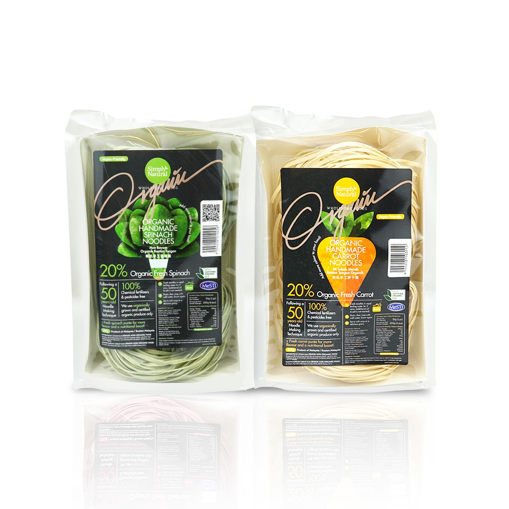1x Spinach and 1x Carrot Zenxin Organic Noodle| 8 serving, 400g | Nutritious & Handmade | No Preservative