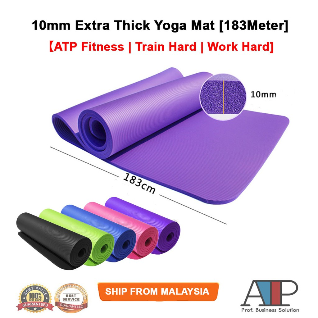 ATP Fitness NBR 10mm Yoga Mat Gym Exercise Mat Extra Thick Non-Slip 183Meter