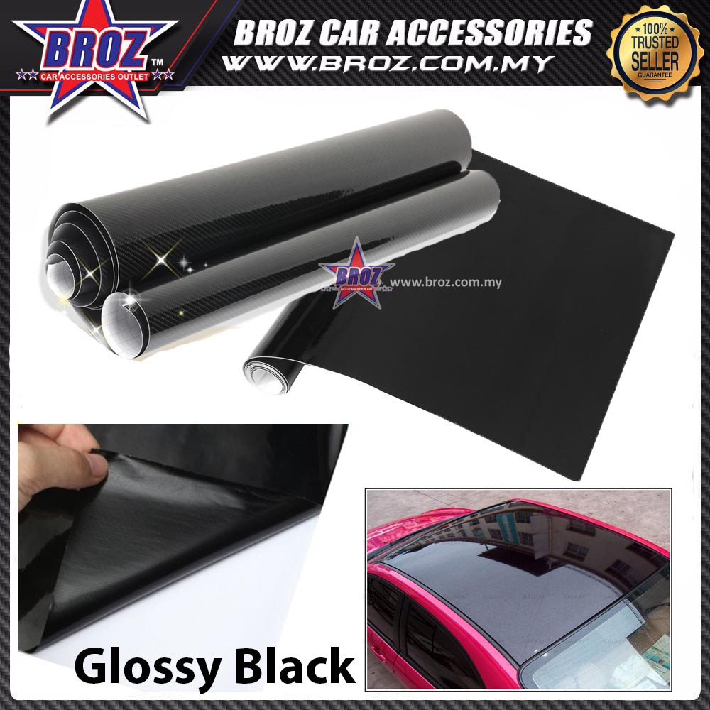 300cmx60cm Gloss Glossy Black Vinyl Film Sheets Car Sticker Wrap