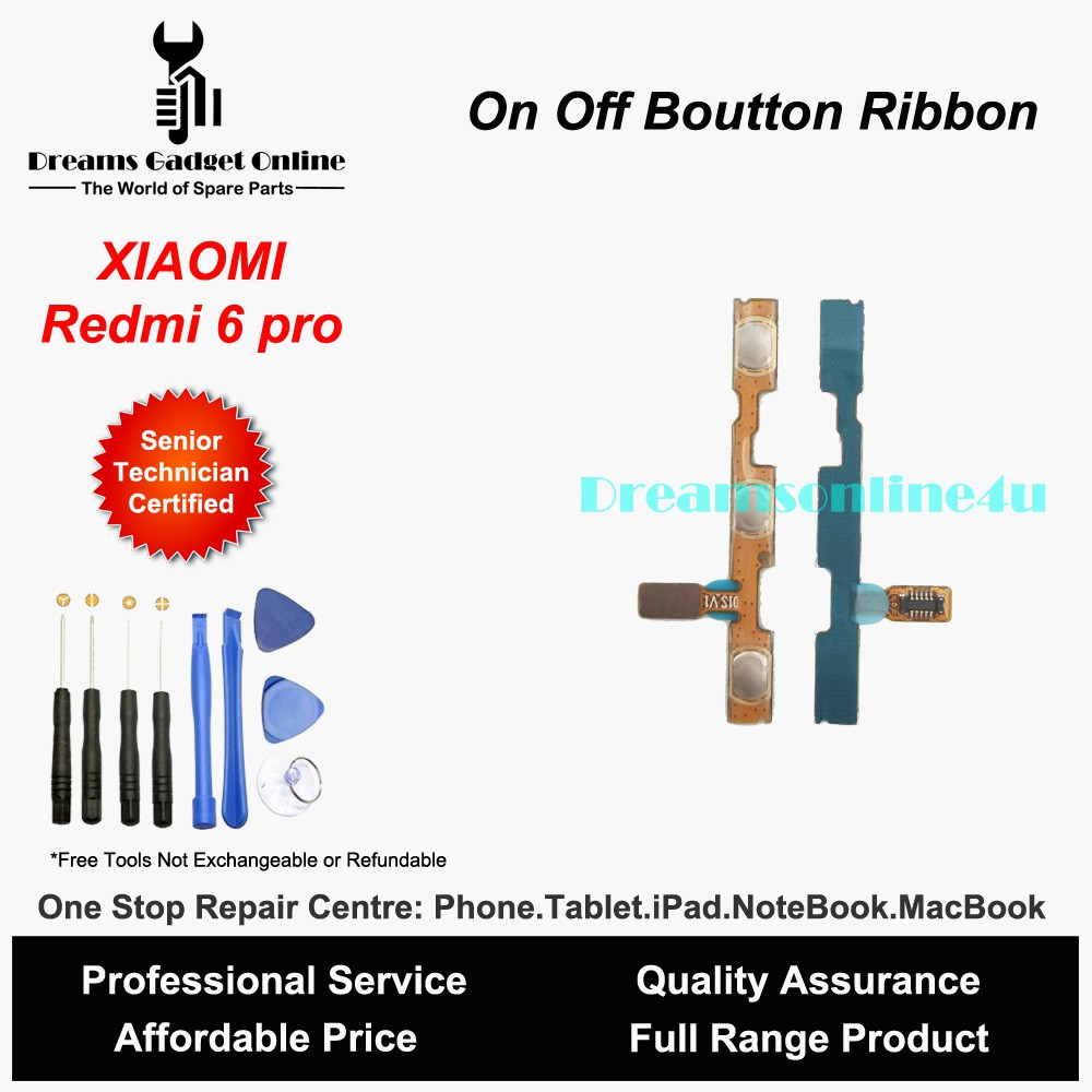 Replacement Power On Off Button Ribbon for XIAOMI Redmi 6 pro