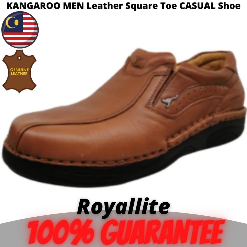 KANGAROO MEN Nautical Leather Square Toe Slip-On CASUAL Shoe (9569) A44Brown