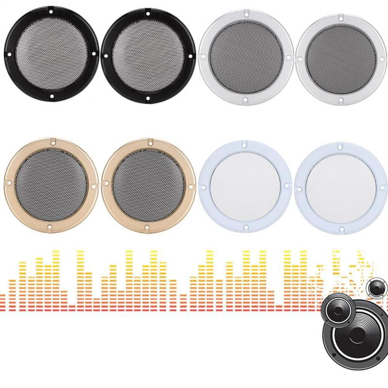 Bamaxis 2PCS 5 inch Audio Decorative Speaker Cover Protective Metal Circle Speaker Cover Mesh, Easy to Install