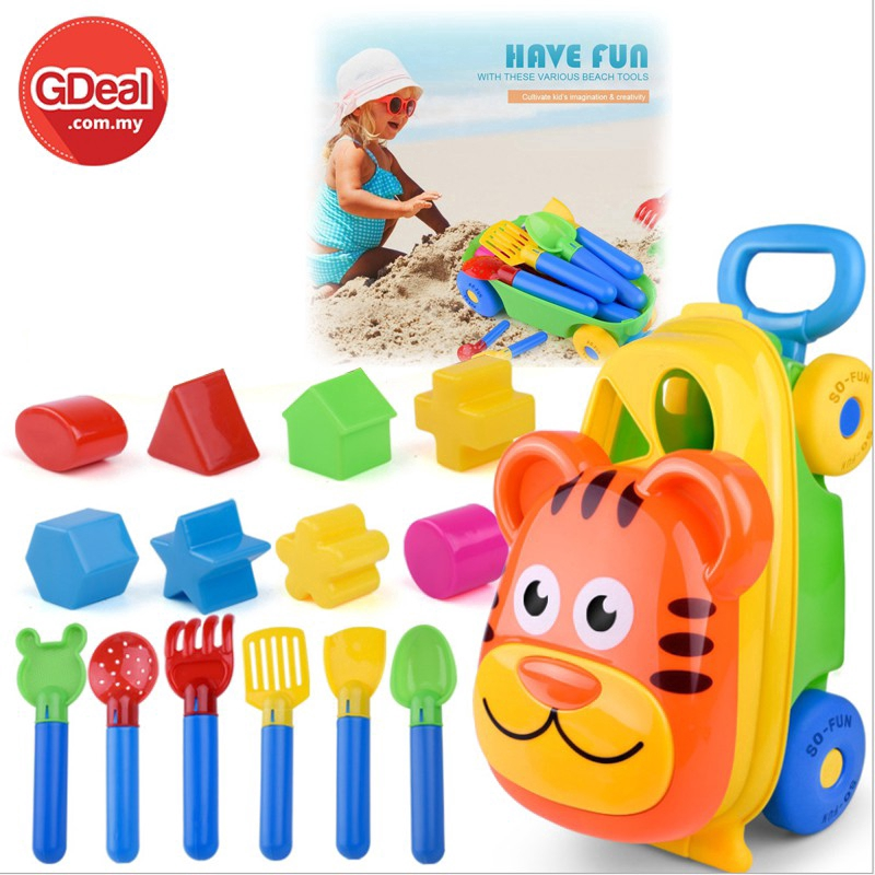 Cutie Luggage Car Beach Sand Toys Bucket Water Children Shovel Kit Play Fun Toy