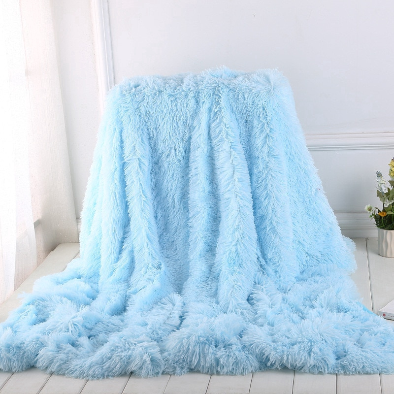 Vintage Solid Pile Throw Blanket Super Soft Faux Fur Warm Shaggy Cover 130*160cm