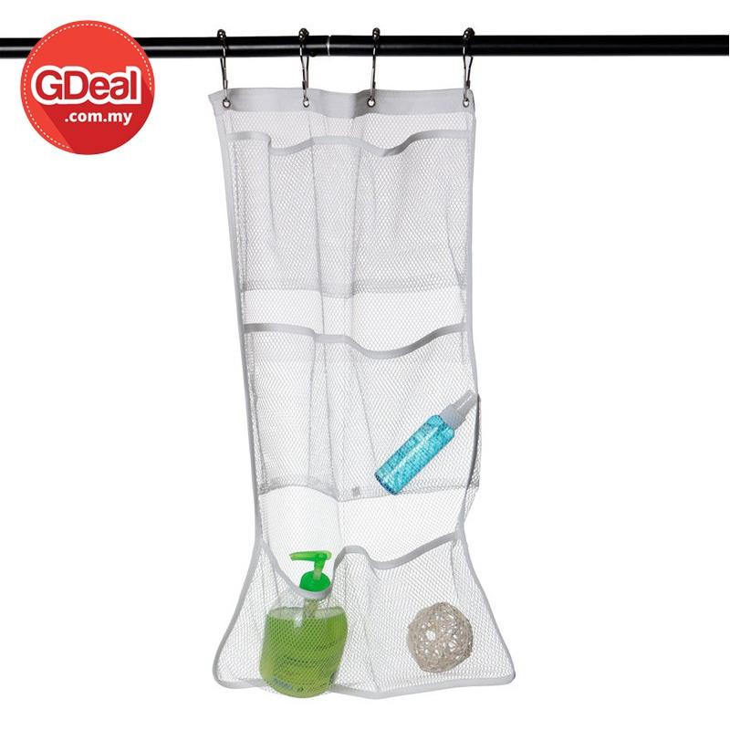 GDeal Bathroom Mesh Hanging Bag Six Compartments Shower Organizer With Hooks Beg Mandian بيڬ منديان