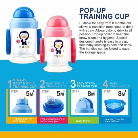 Ready Stock Puku Straw pop up training cup 180cc 14713 吸管彈跳練習杯