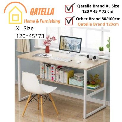 Qatella Auntton Study Writing Desk Computer Desk PC Laptop Table Workstation Study Home Office Double Layer School desk