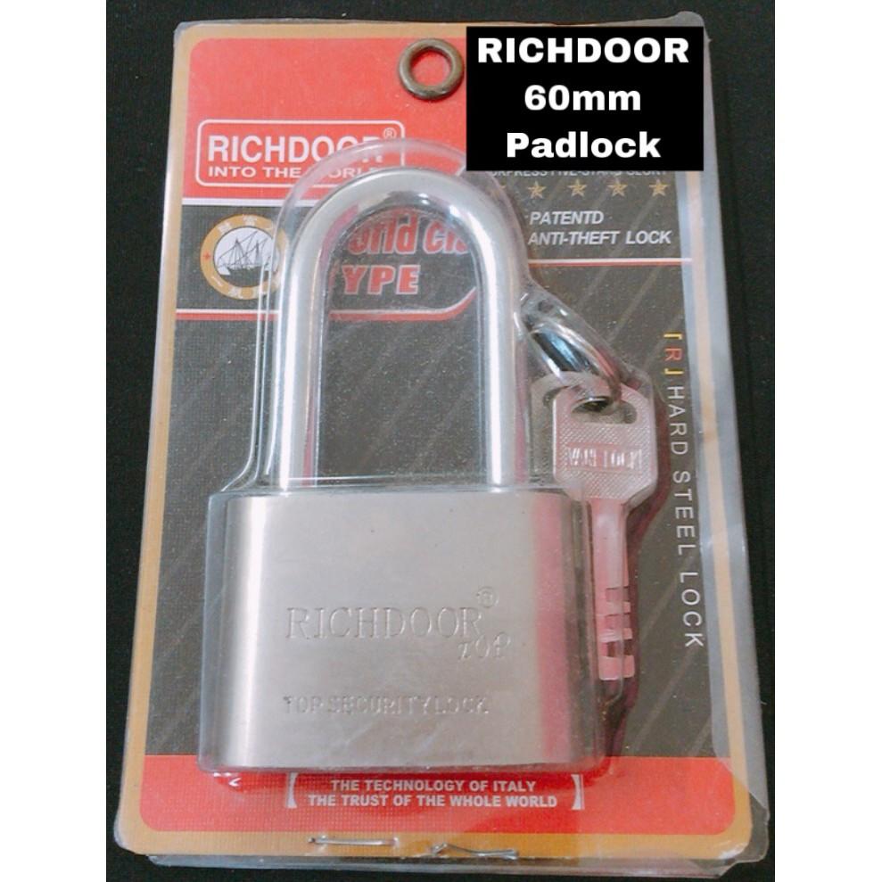 RICHDOOR Long Head Heavy Duty Brass Laminated Anti Rust Pad Lock Premium Quality Lock YJ60L