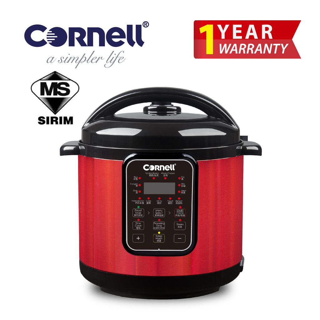 Cornell Pressure Cooker [Free Stainless Steel Steam Rack] CPC-E60C