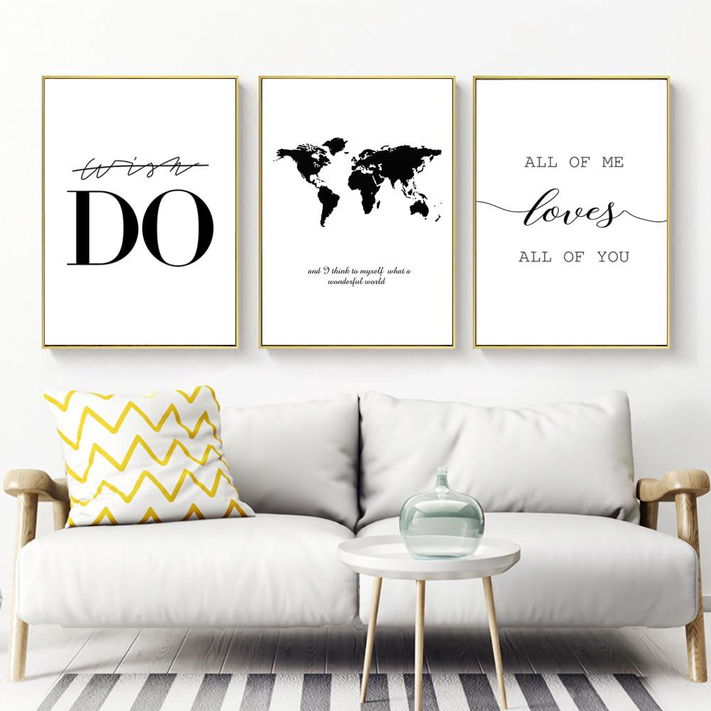 Quotes Painting Canvas Print Black And