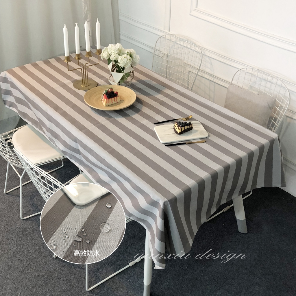 Picture of: Qgp626 Waterproof Tablecloth Gray Striped Dining Table Cloth Cabinet Cloth Cover Cloth Restaurant Tablecloth Rectangul Shopee Malaysia
