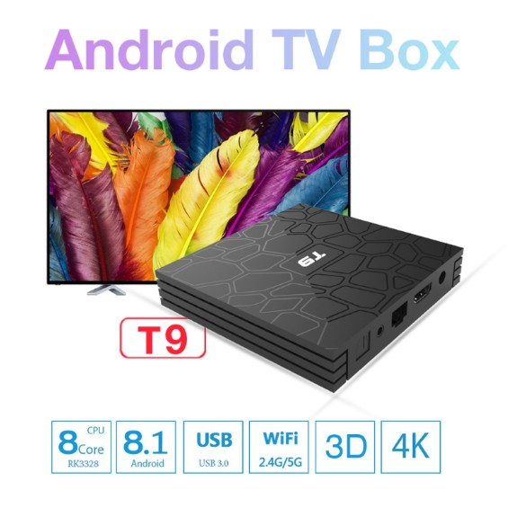 [READY STOCK] Preinstalled 3000 Channels Android 8 1 TV Box T9 4gb 32gb
