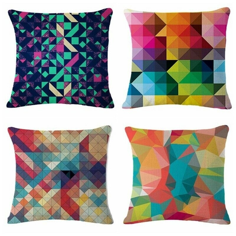 1xGeometric Diamond Velvet Throw Pillow Covers Solid Cushion Case Decorative