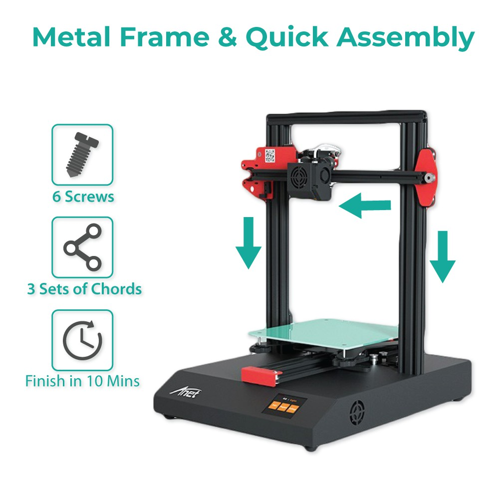 Anet ET4 All-Metal 3D Printer With Industrial Grade Chipset + 1x Red PLA - JADI LIFE