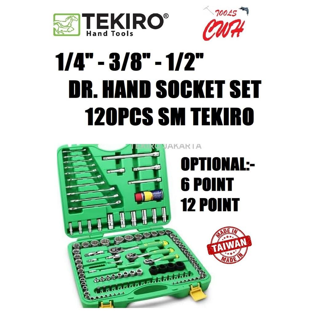 "TEKIRO TAIWAN SC-SE1383 (6PT) SC-SE1384 (12PT) 1/4"" - 3/8"" - 1/2"" DR. HAND SOCKET SET 120PCS SM TEKIRO MADE IN TAIWAN"