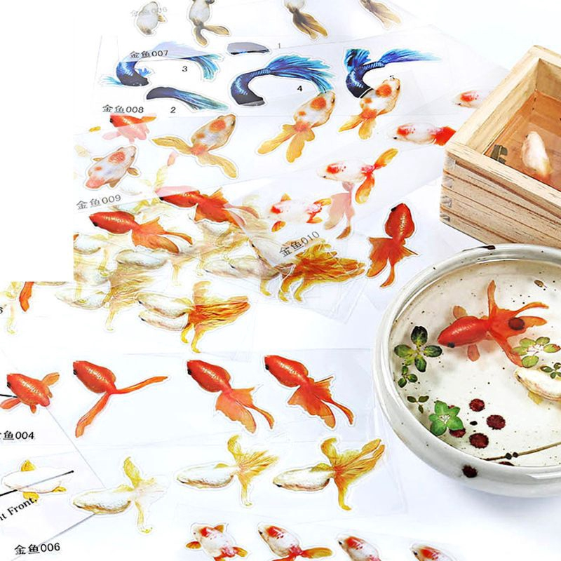 Lots 10 Sheets Gold Fish Decals Adhesive for Resin Casting Filler Decors