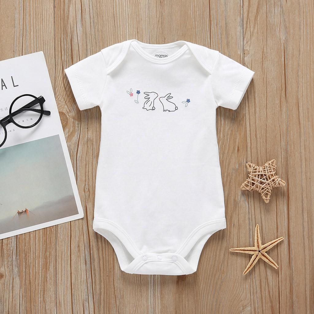 Baby Girl Boy Bodysuit 5pc Romper Infant Newborn Rabbit Bunny Bow Print One-Piece Tops