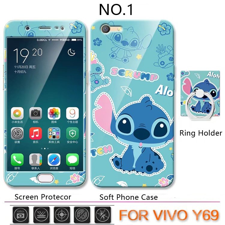 sports shoes 9ca43 ea9a8 VIVO Y69 Cartoon TPU Soft Phone Case Cover+Screen Protector+Ring Holder  Stand