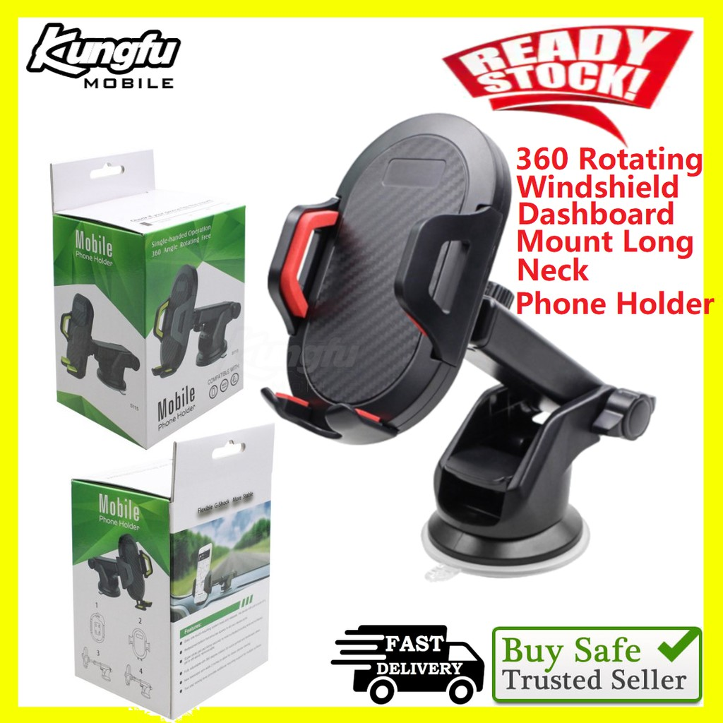 Strong Suction Car Phone Holder 360 Rotating Windshield Dashboard Mount Long neck for iphone sumsung huawei xiaomi
