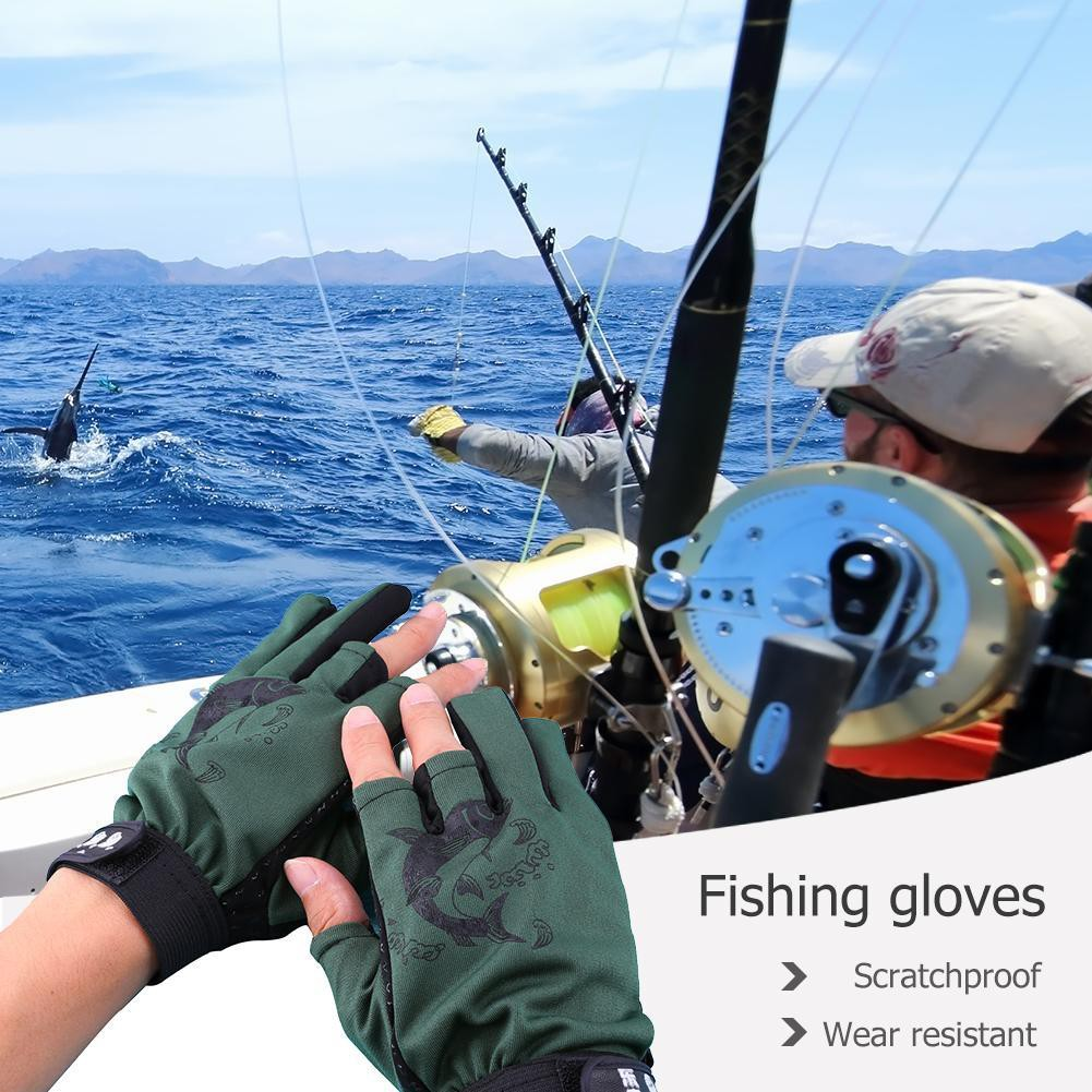 1 Pair Skidproof Resistant Half Finger Pack Cycling Fishing Anti-Slip Glove