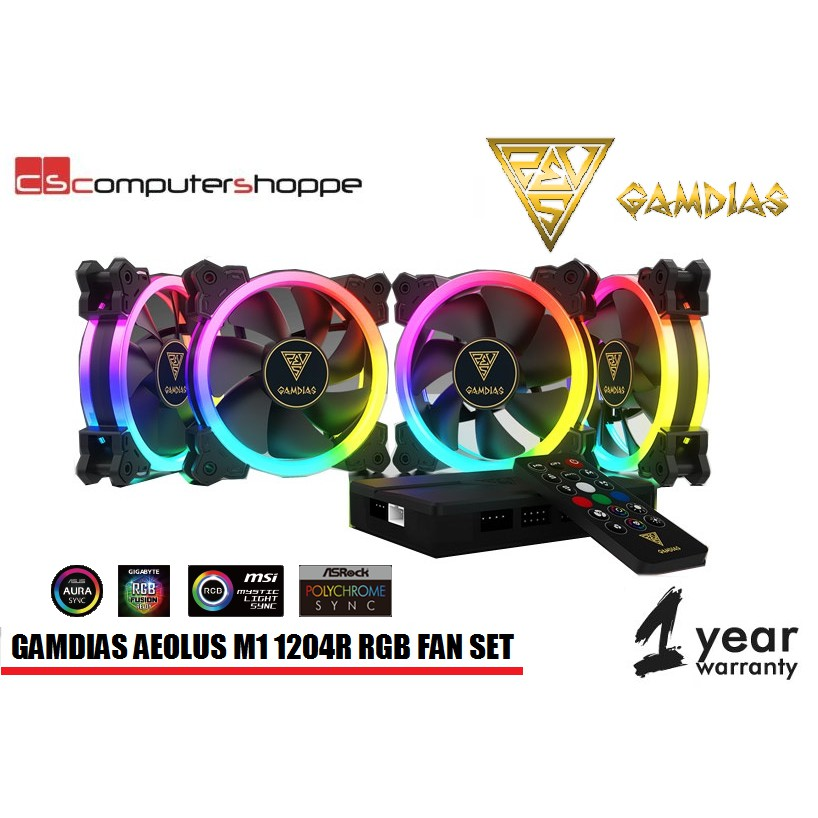 Gamdias AEOLUS M1 1204R 4pcs 12'' Fan with Controller