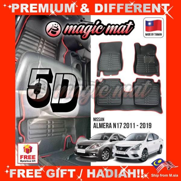 [FREE GIFT Gift] NISSAN ALMERA N17 2011 - 2020 (5 Seater) MAGIC MAT 5D OEM PU Leather Floor Mat Anti-Slip Easy Clean Carpe