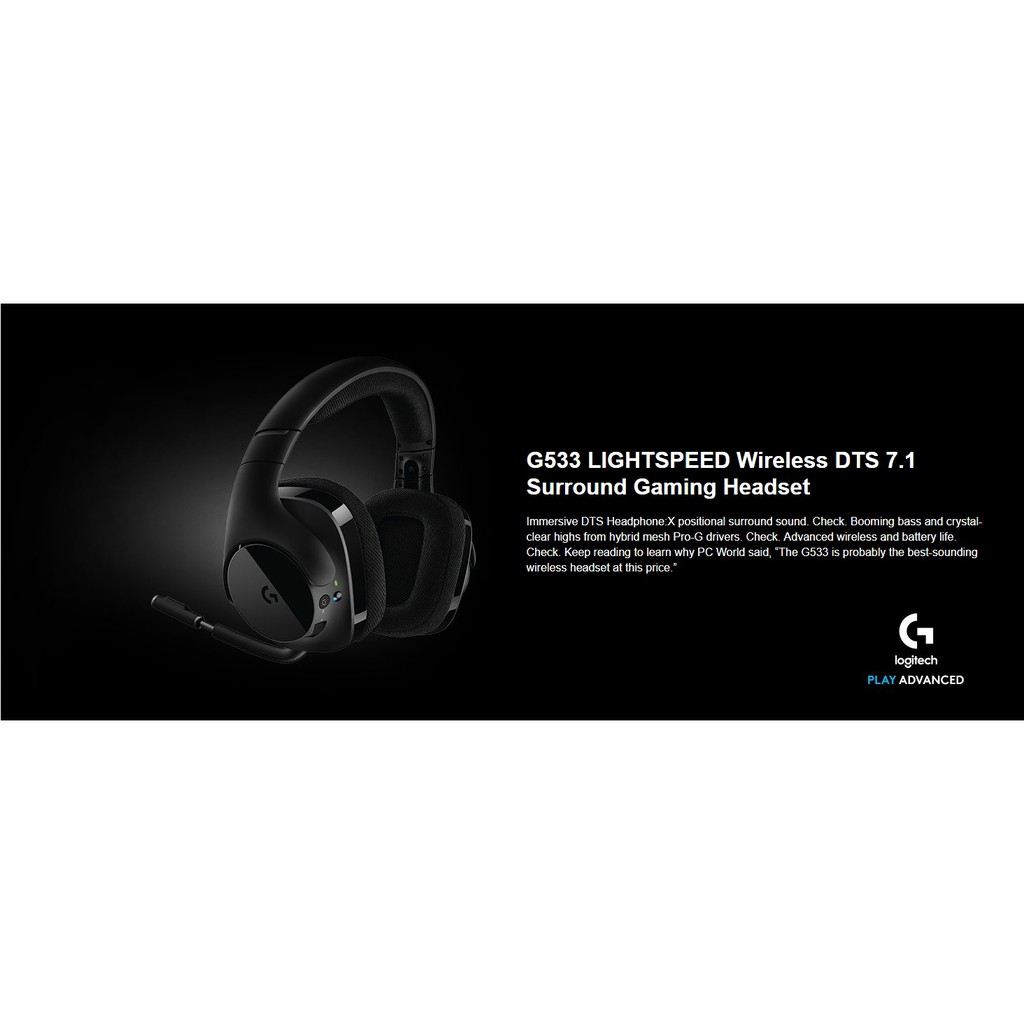 Logitech Gaming Headset G533 Wireless – DTS 7 1 Surround